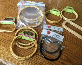 Purse Handles Bag Handles Set of 12 handles for bag or purse making bamboo plastic