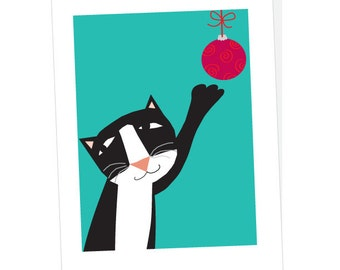 holiday cards tuxedo cat with ornament card collection
