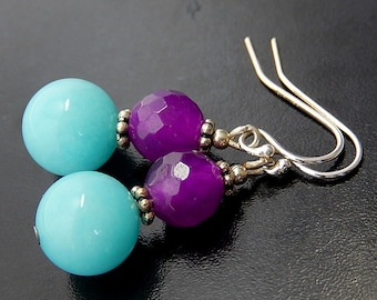 Blue Purple Earrings, Fuchsia Earrings, Candy Colored, Sterling Silver