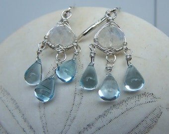Faceted Rainbow Moonstone, Swiss Blue Topaz smooth briolette, sterling silver leverback chandelier earrings