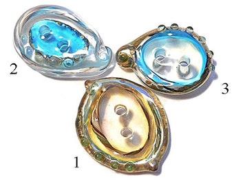Glass paisley two hole buttons, handmade lampwork glass button, fiber embellishment, 'claro' design glassbead, sewing supplies