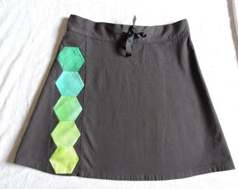 Organic cotton + hexagon patchwork a-line mini skirt * size 5/6 * OOAK twilightdance