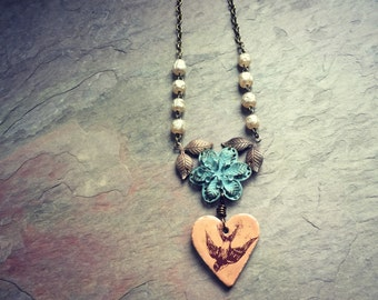 Flying Sparrow Heart and Flower Necklace