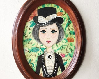 Victorian Era Girl on a Floral Background illustration wall decor art oval framed