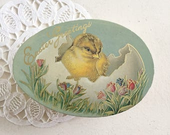 Vintage Easter Greeting Egg Shaped Chocolate Candy Box Plastic Container