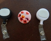 Fabric Covered Button for Clip on Retractable Badge Reel - Pink Flowers