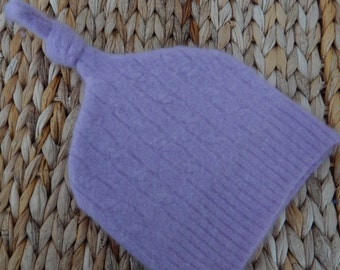 Recycled Light Purple Cashmere Baby Hat  12-24 months