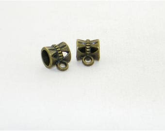 2 Bronze large hole pendant connectors for European charm bracelets and necklaces, Bail beads, Charm carriers, Jewelry making, Gift
