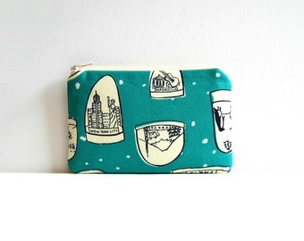Small Zipper Pouch, Coin Purse, Women and Teens, Gift For Her, Snowglobes in Teal, Tinsel Collection by Cotton + Steel