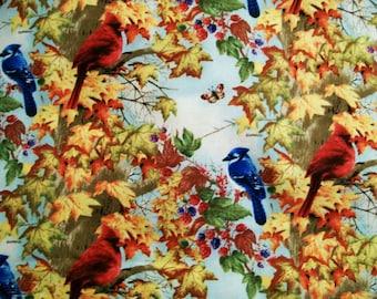 Giordana Studios Fall Birds Fabric, Cotton Fabric, Clothing Fabric, Quilting Fabric, Craft fabric, By the Yard, #151