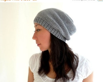 15% OFF SALE: Camila Merino Slouch Hat. Knit. Men / Women. Soft Neutral Gray. Urban Style. Fall / Winter / Snow / Ski. Handmade in France.