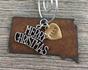 SOUTH DAKOTA Christmas Ornament SMALL, South Dakota Ornament, Christmas Gifts 2017 Christmas Ornaments, Personalized Gift