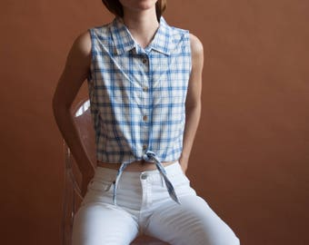 white and blue plaid crop top / waist tie top / sleeveless cropped cotton top / s / m / 1844t / B18
