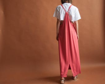 coral long jumper dress / overall dress / maxi dress / s / 2218d