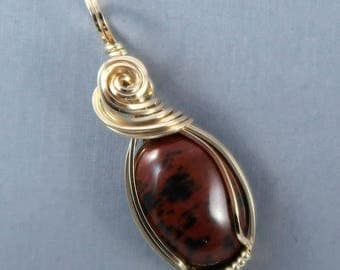 Mahogany Obsidian and 14k Gold Filled Wire Wrapped Gemstone Cabochon Pendant