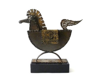 1970s Brutal Modernist Brass Horse Sculpture by Jack Hanson
