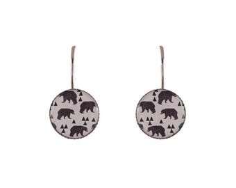 Small bears print earrings