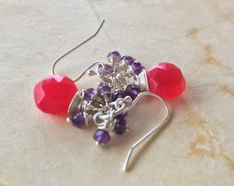 Watermelon pink chalcedony and Amethyst cluster earrings in silver