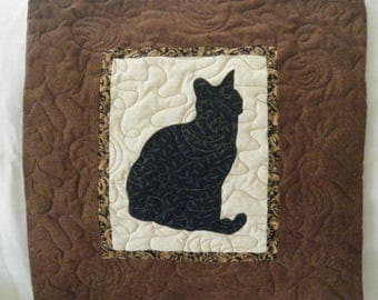 CAT in black  - Quilted throw pillow 16 inches