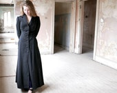 Edwardian Black Wool Long Coat Size XS