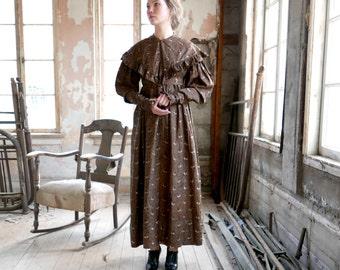 19th Century Cotton Chintz House Dress XS
