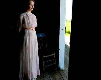 Edwardian Pink Sheer Lingerie Dress XS