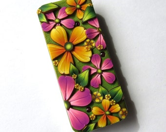 Yellow and Pink Flower Slide Top Tin, Sewing Needle Case, Polymer Clay Covered Tin, Magnetic Needle Case