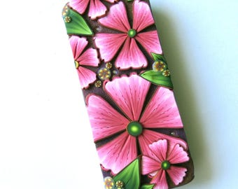 Pink Flowers Slide Top Tin, Sewing Needle Magnetic Pin Box ,Polymer Clay Covered Tin, Magnetic Needle Case