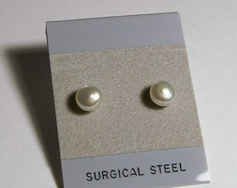 Pearl Earrings - Cultured Freshwater Button Pearls