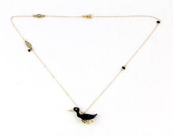 The Black Duck - Vintage Enamel Duck and Rhinestone Pin Necklace