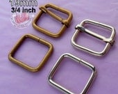 15 Sets Adjustable Strap Kit with slide and rectangle ring - 3/4 Inch / 19mm Width (available in nickel and antique brass finish)