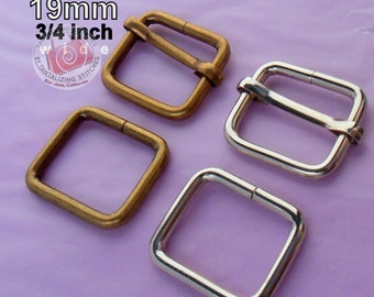 5 Sets Adjustable Strap Kit with slide and rectangle ring - 3/4 Inch / 19mm Width (available in nickel and antique brass finish)