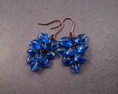 Cluster Earrings, Periwinkle Blue Hearts, Glass and Copper Dangle Earrings, FREE Shipping U.S.