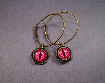 Eye See You, Eyeball Earrings, Hot Pink and Blossoms, Brass Lever Back Hoop Earrings, FREE Shipping U.S.
