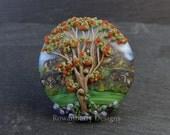 Snowdonia Mountain Landscape & Rowan Tree in Berry - Handmade Lampwork Glass Focal Bead - Rowanberry SRA