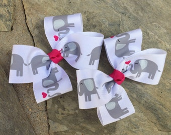Elephant Hair Bows,Pigtail Hair Bows,Toddler Hair Bows,French Barrettes,1.5 Inch Wide Ribbon,Ready To Ship