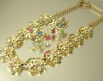 Vintage 1950s /60s gold tone and cream paint work, rhinestone paste, flower leaf costume necklace, clip on earrings - jewelry jewellery