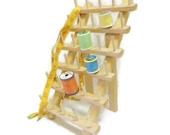 June Tailor Thirty Spool Thread Rack | Table Top Freestanding Wood Spool Holder