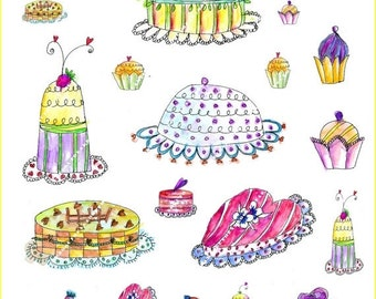 ON SALE Illustration-Download and print-Collage Sheet-5 CAKES Part I-300 Dpi