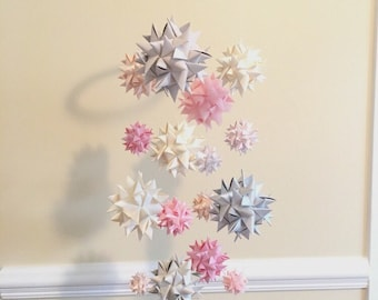 Baby Crib Mobile Hanging Origami Stars -'Lyra' Soft Warm Spheres