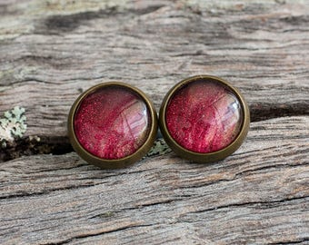 Hand painted red cranberry stud earrings
