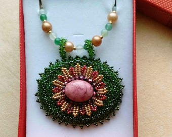 Beaded Beadwoven Rhodonite Flower Necklace, Statement Necklace, Aventurine Necklace, Golden Green and Red Beadwork by enchantedbeads on Etsy