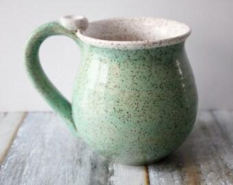 Light Spa Green Mug - Mint Green - Speckled Pottery Mug, Ready to Ship