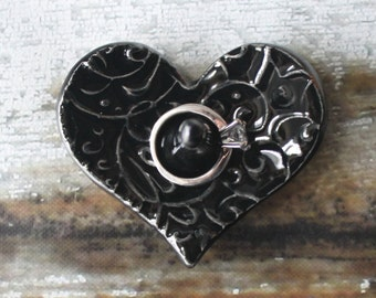 Obsidian Black Dainty Heart Shaped Ring Holder, Ring Dish, Ring Bowl, Ebony Black Glaze, Ready to ship