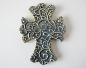 Embossed Cross Ornament - ceramic clay - handmade - ready to mail - periwinkle blue with scroll design