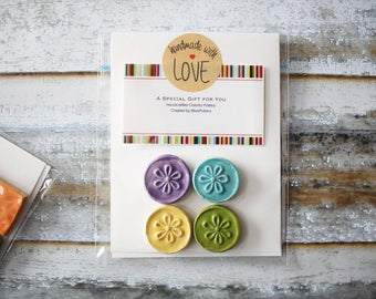 Set of 4 Magnets - colorful handmade magnets - ready for gifting