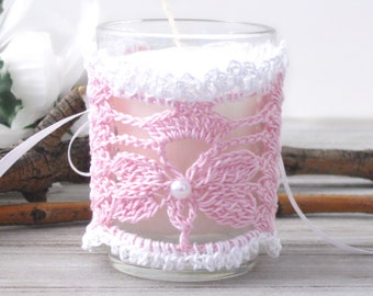 Lace Votive Candle Corset Wrap, Butterfly Pink & White Lace Wedding Votive Candle Sleeve