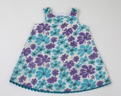 Turquoise & Blue Daisy Toddler Girls' Dress, Handmade Girls' Dress, Sundress, Toddler Dress, Pinafore, Summer Dress - Size 2T