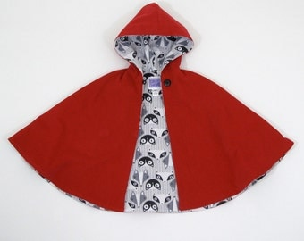 Little Red Riding Hood Cape with Flannel Lining | Baby, Toddler, Girls Cape - Sizes Newborn to Girls 9/10 - Cloak, Coat