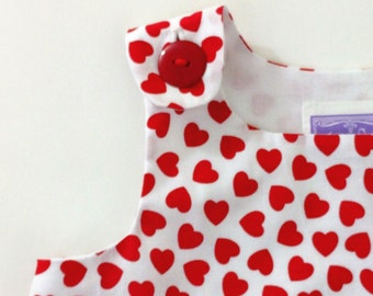 Red Hearts Valentine's Day Girls Dress, Newborn Dress, Baby Dress, Toddler Dress, Valentines Day Dress, Party Dress, Newborn to 4T